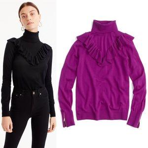 J. Crew Tippi Ruffle Turtleneck Sweater Fuchsia XL